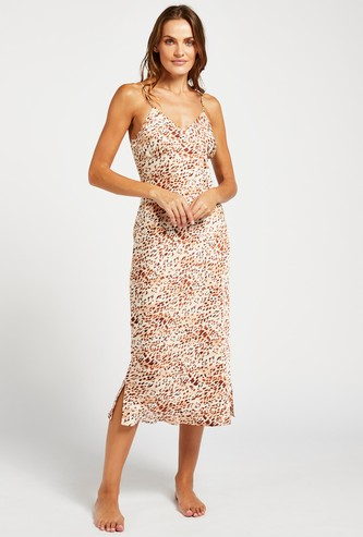 Animal Print Sleep Gown with Spaghetti Shoulder Straps and Slit Detail