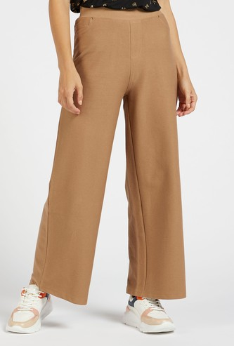 Solid Full Length Wide Leg Twill Palazzos with Elasticated Waist
