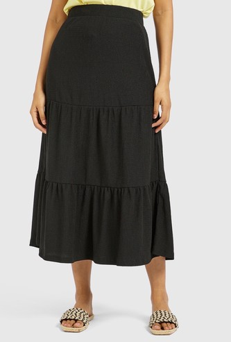 Textured Midi Tiered Skirt with Elasticised Waistband