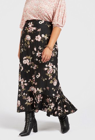 All-Over Print Maxi Tiered Skirt with Elasticised Waistband