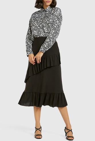 Solid Tiered Midi Skirt with Ruffle Detail