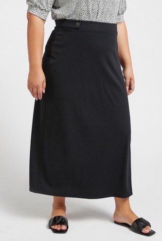 Ribbed Maxi A-line Skirt with Button Detail and Elasticised Waistband