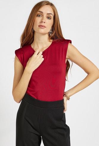 Solid Round Neck Sleeveless Bodysuit