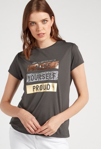 Foil Print T-shirt with Round Neck and Cap Sleeves