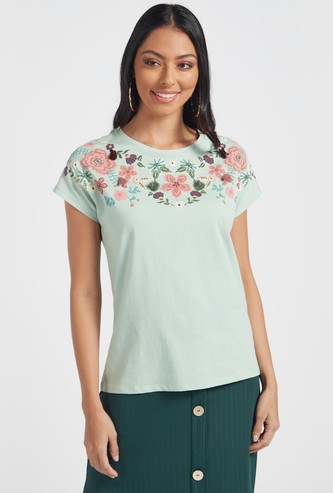 Embroidered Detail Top with Cap Sleeves and Tassels