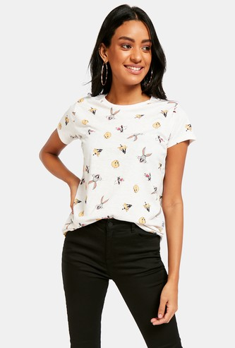 Looney Tunes Graphic Print T-shirt with Round Neck and Cap Sleeves