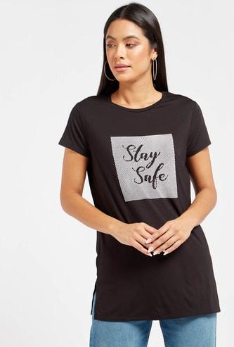 Embellished Slogan Print Round Neck Long T-shirt with Short Sleeves
