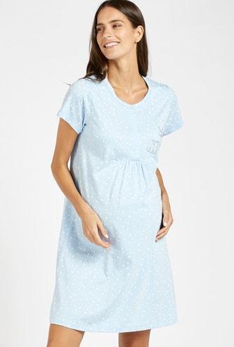 Polka Dots Print Maternity Sleep Dress with Short Sleeves