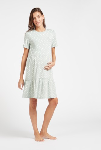 Polka Dot Maternity Sleepshirt with Round Neck and Short Sleeves