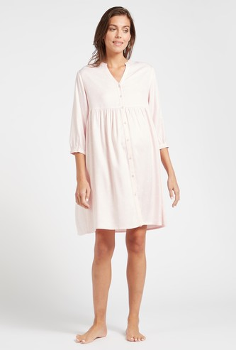 Polka Dot Print Maternity Sleepshirt with Mandarin Neck and 3/4 Sleeves