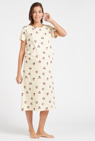 Minnie Mouse Print Maternity Sleepshirt with Short Sleeves