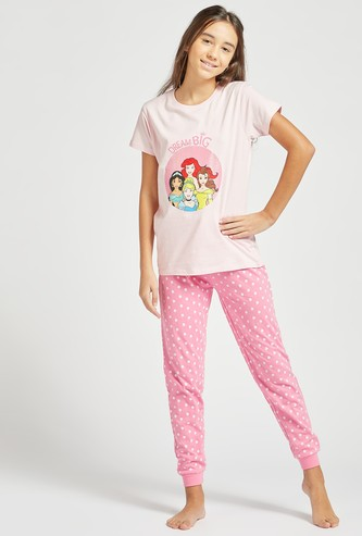 Disney Princess Graphic Print Short Sleeves T-shirt and Pyjama Set