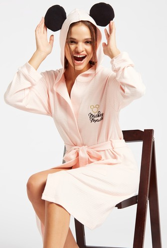 Mickey Mouse Textured Hooded Robe with Long Sleeves and Pockets