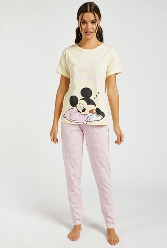 Mickey Mouse Graphic Print T-shirt and Pyjama Set