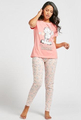 Garfield Print T-shirt with Short Sleeves and Pyjama Set