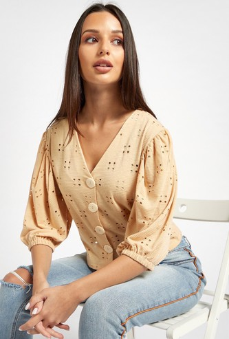 Schiffli Detail Top with V-neck and 3/4 Sleeves