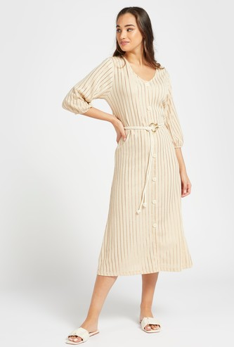 Striped Midi A-line Dress with V-neck and 3/4 Sleeves