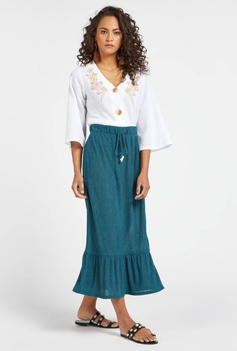 Textured Midi Tiered Skirt with Drawstring Closure