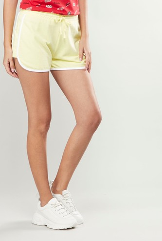 Mid-Rise Shorts with Piping Detail and Drawstring
