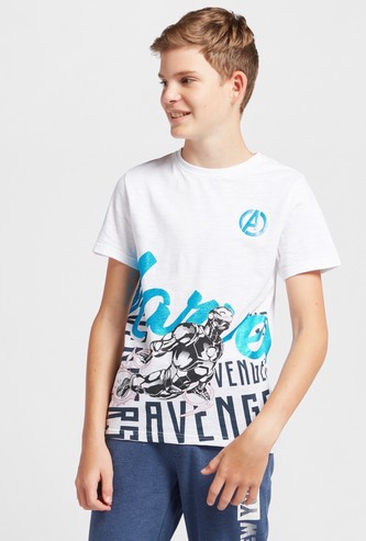 Marvel Graphic Print T-shirt with Crew Neck and Short Sleeves