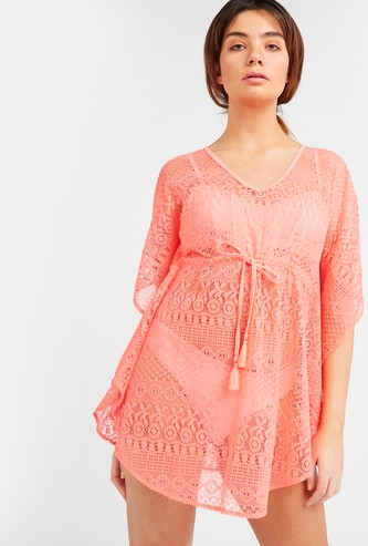 Textured Kaftan Swimwear Top with Tie Ups