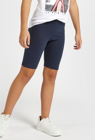 Solid Biker Shorts with Elasticated Waistband