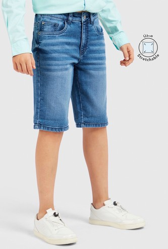 Fashion Washed Jeans with Button Closure