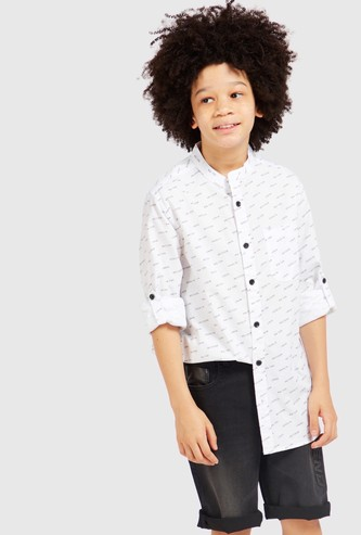 All-Over Text Print Shirt with Mandarin Collar and Long Sleeves