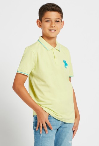 Embroidered Detail Polo T-shirt with Short Sleeves and Tipping Detail