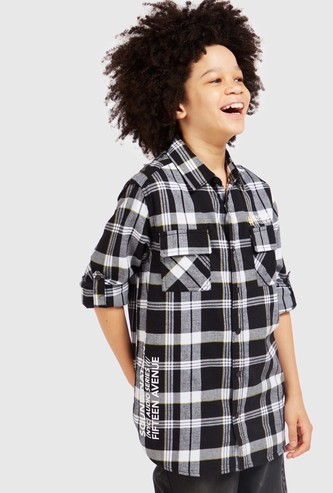 Chequered Shirt with Pockets and Long Sleeves