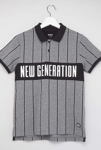 Stripe Detail Polo T-shirt with Short Sleeves
