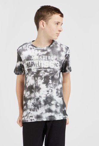 Avengers Tie-Dyed Print T-shirt with Round Neck and Short Sleeves