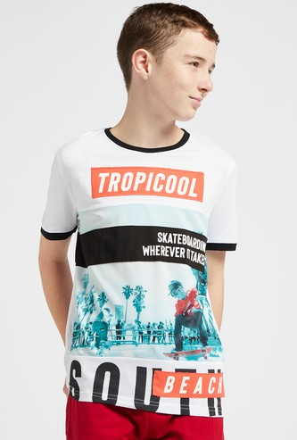 Printed Panel Placement Round Neck T-shirt with Short Sleeves