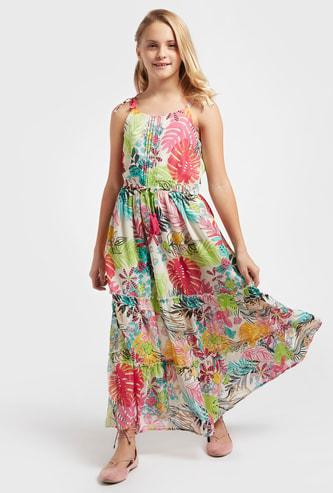 فستان طويل دون أكمام بطبعات زهور وأربطة