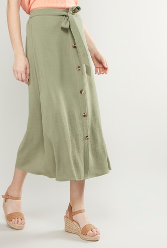 Textured Midi A-line Skirt with Tie Ups