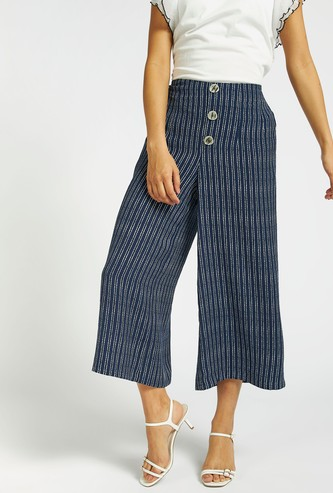 Striped Culottes with Button Accents