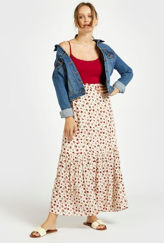 All-Over Print Maxi Tiered Skirt with Button Closure