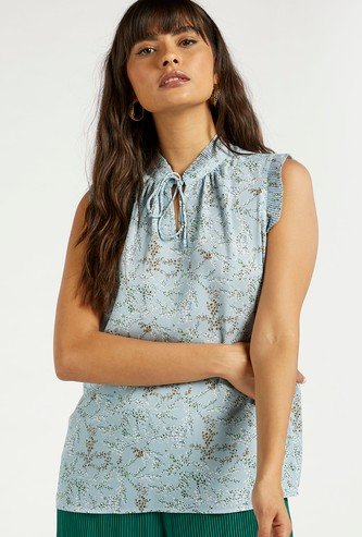 All-Over Floral Print Sleeveless Top with Pleat Detail Tie Neck