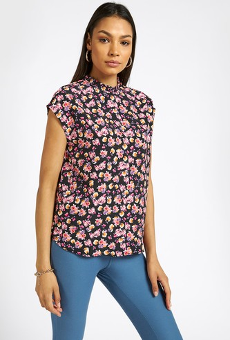 All-Over Floral Print Top with High Neck and Cap Sleeves