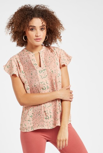 Floral Print Top with V-neck and Cap Sleeves