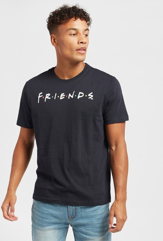 Friends Graphic Print T-shirt with Crew Neck and Short Sleeves