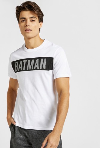 Batman Print Crew Neck T-shirt with Mesh Detail