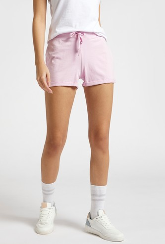 Solid Mid-Rise Shorts with Drawstring Closure and Elasticised Waist