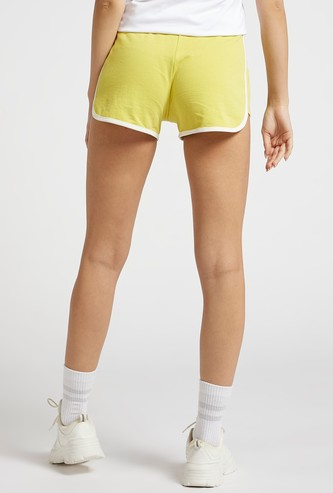 Solid Shorts with Contrast Piping and Drawstring Closure