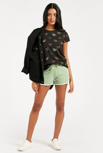 Solid Mid-Rise Shorts with Drawstring Closure