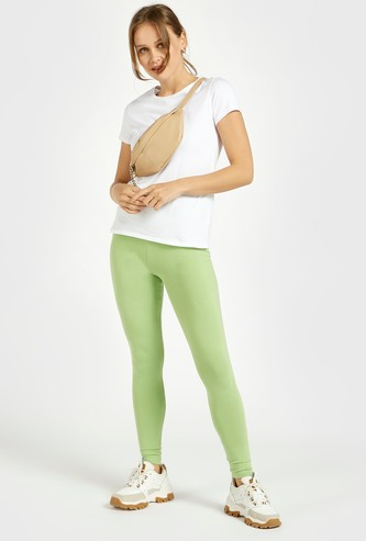 Solid Leggings with High Elasticised Waistband