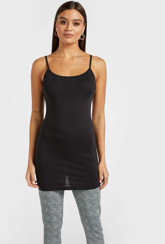 Solid Longline Camisole with Scoop Neck and Spaghetti Straps