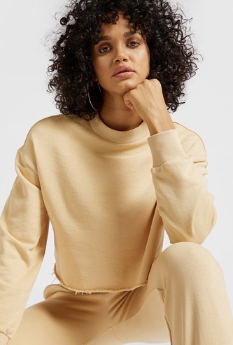 Solid Cropped Sweatshirt with Crew Neck and Long Sleeves