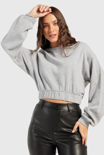 Solid Sweatshirt with Crew Neck and Long Sleeves
