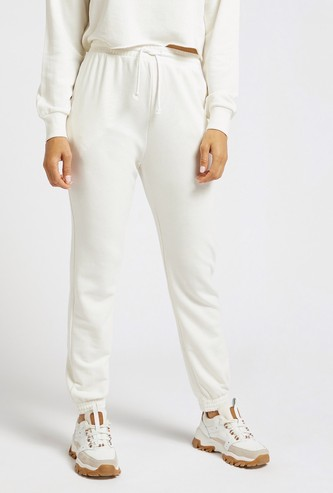 Solid High Rise Joggers with Pockets and Cuffed Hems